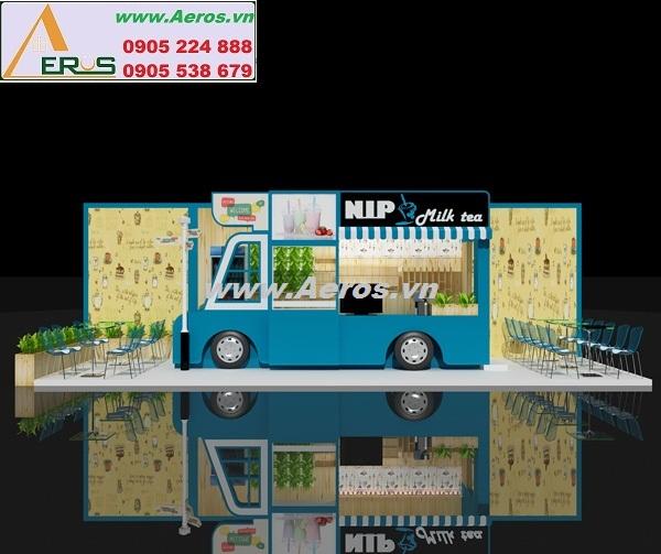 THIẾT KẾ GIAN HÀNG  TRÀ SỮA NLP ở TTTM E-MART , Gò Vấp, HCM
