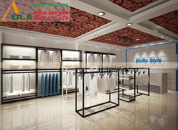 Hình ảnh thiết kế thi công shop thời trang quần áo Bluro Style tại Bình Dương