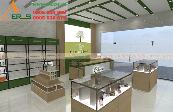Những mẫu thiết kế shop mỹ phẩm đẹp do cty AEROS thực hiện trong tháng 2