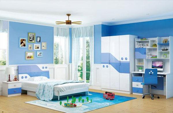 phòng ngủ màu xanh dương tiện nghi hiện dại cho bé trai