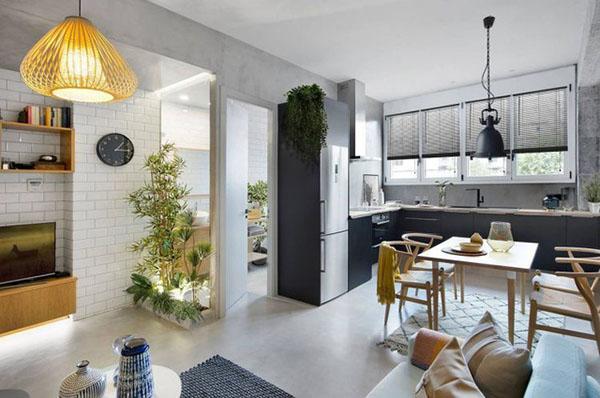 Thiết kế căn hộ 46m2 2 phòng ngủ đẹp